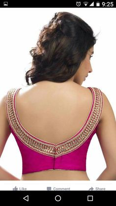 55 Trendy blouse back neck designs with borders for sarees 41 Latest pattu saree blouse designs to t Blouse Back Neck Designs, Fancy Blouse Designs, Pattu Saree Blouse Designs, Saree Blouse Patterns, Skirt Patterns, Coat Patterns, Kurta Designs, Sewing Patterns, Vetement Fashion