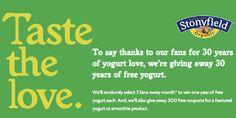 Stonyfield Farms Yogurt Giveaway