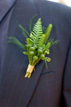 Green & gold fern boutonniere by San Diego florist, Compass Floral. Fern Wedding, Church Wedding Flowers, Botanical Wedding, Forest Wedding, Woodland Wedding, Bridal Flowers, Flower Bouquet Wedding, Floral Wedding, Flower Bouquets
