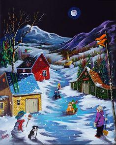 Watercolor Landscape, Watercolor Print, Landscape Art, Winter Christmas Scenes, Christmas Art, Amazing Gymnastics, Winter Scenery, Hand Painted Ornaments, Country Art