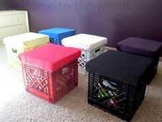 Check out unique DIY toy storage inside these old milk crates. I made a padded seat and lid on each crate for tidy, practical, and FUN toy storage! # Easy DIY storage DIY Toy Storage in Crates - welcome to the woods Milk Crate Storage, Diy Toy Storage, Storage Stool, Cheap Storage, Diy Upcycled Storage Ideas, Milk Crate Seats, Toy Storage Solutions, Storage Design, Closet Storage