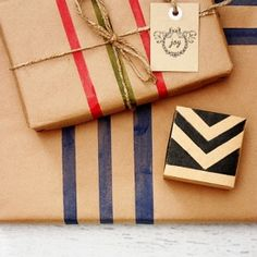 DIY Wrapping Paper using painters tape!  Easy and homemade.