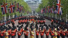 Military bands and Foot Guards march along The Mall. Trooping the Colour 06-16-12