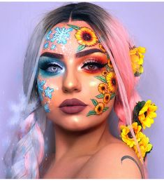 Newest and Colorful Eyeshadow Design Ideas and Images Part eyeshadow looks; eyeshadow looks step by step # makeup art Newest and Colorful Eyeshadow Design Ideas and Images Part 7 Makeup Eye Looks, Eye Makeup Art, Colorful Eye Makeup, Crazy Makeup, Colorful Eyeshadow, Cute Makeup, Half Face Makeup, Colorful Hair, Pretty Makeup