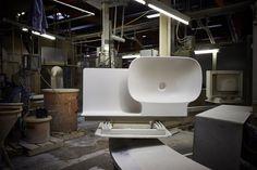 konstantin grcic + toan nguyen explore LAUFEN's saphirkeramik technologies - designboom | architecture & design magazine