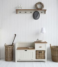 Storage seat, lamp table, shoe bench and for hall furn… Brunswick hall furniture. Storage seat, lamp table, shoe bench and for hall furniture. Painted furniture from The White Lighthouse with fast UK de . Hallway Shoe Storage Bench, Hallway Seating, White Storage Bench, Storage Benches, Hall Bench, Ikea Shoe Bench, Hall Storage Ideas, Small Shoe Bench, Hallway Bench Seat
