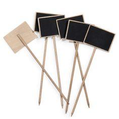 6 pinchos con pizarra de madera natural
