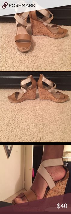 "Steve Madden Edna Wedge Sandal 1.25"" platform, 4.5"" cork wedge heel, elastic cross cross straps for stretch fit. Pairs well with dresses or denim! Steve Madden Shoes Wedges"