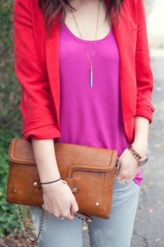 Colorblocking with Kendi Everyday.  A red blazer and fuchsia tank are a beautiful color combo.