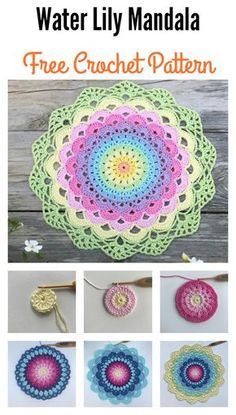 Magic Water Lily Mandala - free crochet pattern in English and Swedish at Crochet Millan. 10 free crochet patterns of mandalas - Crafts Ideas Design My newest flower mandala design Someone who have a suggestion what i should name this mandala flower to? Free Crochet Doily Patterns, Crochet Circles, Crochet Squares, Crochet Motif, Crochet Doilies, Knitting Patterns, Mandala Crochet, Flower Mandala, Mandala Rug