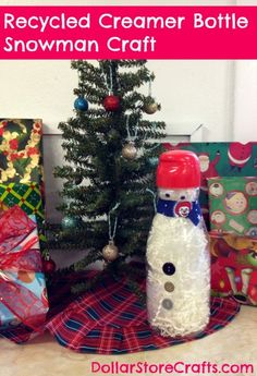 Recycled Coffee-mate creamer bottle snowman craft #naturalbliss