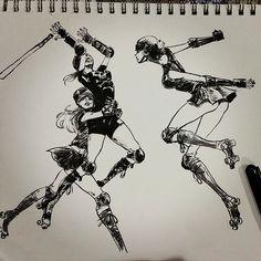 Source d'inspiration intarissable pour les dessinateurs, retrouvez nos illustrations coups de coeurs de roller girls.