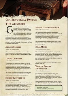 Warlock Class, Warlock Dnd, Dungeons And Dragons Classes, Dungeons And Dragons Homebrew, Dungeon Master's Guide, Dnd Classes, Dnd 5e Homebrew, Writing Fantasy, Dnd Monsters