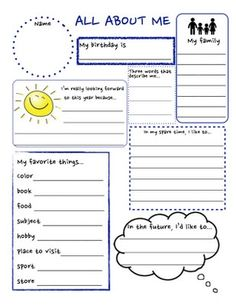 Getting to know you FREE worksheet for the first day of school. All ...