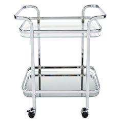 Shop for Zedd Silvertone/Clear Metal/Glass 2-tier Trolley. Get free shipping at Overstock.com - Your Online Kitchen
