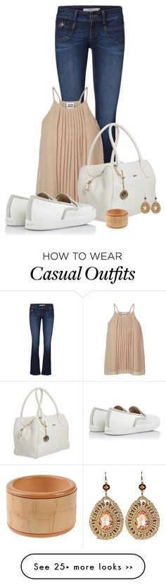 """Casual outfit: White - Nude - Denim"" by downtownblues on Polyvore"