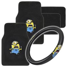 Despicable Me Warner Bros. - Minion Stuart Waving - Full Set of Deluxe Car 4 Piece Carpet Floor Mats and Steering Cover BDK http://www.amazon.com/dp/B00UKG1TG8/ref=cm_sw_r_pi_dp_Mio3wb0V00WN9