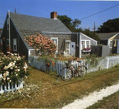 side and back view of the  most adorable cottage in Nantucket, MA
