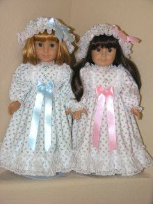 American Girl Doll Clothes Pajamas FLANNEL NIGHTGOWN BLUE ROSE