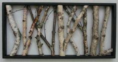 Birch Wall Hanging - Black and White, Open Art, Rustic Art, Shabby Chic Decor, Urban Rustic, Birch Logs, Birch Sticks