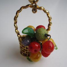 Vintage 1950s Fruit Charm Bracelet Glass Carmen Miranda Bride's Basket