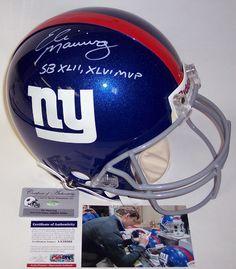 Eli Manning Autographed Hand Signed New York Giants Authentic Helmet -  Steiner COA 6ff285b25