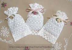 A Set of 3 Lavender Sachets made of French Heirloom Lace and filled with Organic…