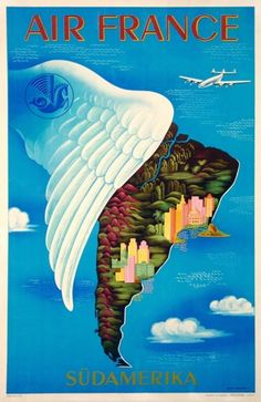 Air France Amerique Du Sud original poster by L. Bucher French plate lithograp from Original Travel posters from Antique Posters. Air France, South America Destinations, South America Travel, Airline Travel, Travel And Tourism, Air Travel, Party Vintage, Tourism Poster, Original Travel