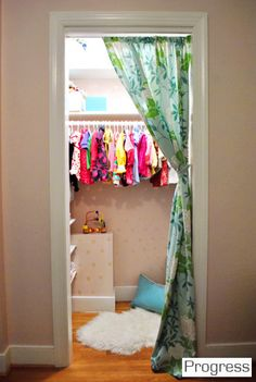 curtain closet.....good cute idea for baby room