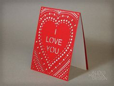 "Laser Cut ""I love you card"" from Alexis Mattox Design"