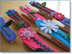 Mother's Day Gifts clothespin refrigerator magnets clips - Felting