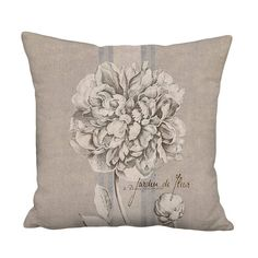 Pillow Cover - Pillow - Peony French Country Grain Sack Style Linen Decor - 16x 18x 20x 22x 24x 26x 28x Inch Neutral Brown Cushion Cover