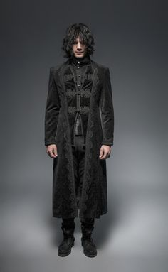 Punk Motorcycle Mens Coat Long Black Velvet Gothic Steampunk Horseman Jacket | eBay