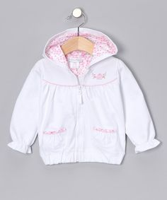 Take a look at this White Delphi Zip-Up Hoodie - Infant, Toddler & Girls by babycottons on #zulily today!