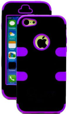myLife (TM) Violet Purple + Black Solid Color Style 3 Layer (Hybrid Flex Gel) Grip Case for New Apple iPhone 5C Touch Phone (External 2 Piece Full Body Defender Armor Rubberized Shell + Internal Gel Fit Silicone Flex Protector) myLife Brand Products http://www.amazon.com/dp/B00II9AP3M/ref=cm_sw_r_pi_dp_8j.Xub0Q6XF03