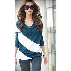 Women's Casual Micro-elastic Long Sleeve Regular T-shirt ( Cotton )(872339) – EUR € 5.12