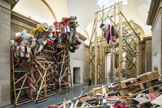 Embracing mess, absurdity and precariousness. dock 2014, by Phyllida Barlow at Tate Britain. Photograph: David Levene for the Guardian