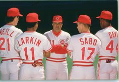 Paul ONeill, Barry Larkin, Chris Sabo, Eric Davis and Lou Pinella  Cincinnati Reds 1990 WS Champions