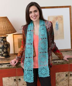Beautiful motifs are joined as you crochet them, so the finishing is minimal. The mohair blend yarn is light and airy for a totally feminine look.