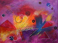 "Textura -Geometric by Sara Miller Acrylic ~ 36"" x 48"""