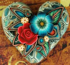 Polymer Clay Dimensional Heart Focal Bead.