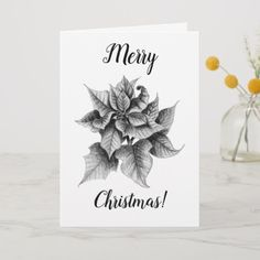 Grey and white poinsettia flower graphite pencil drawing Christmas greeting card with cursive, feminine text. Customize with your own greeting text! Christmas Greeting Cards, Custom Greeting Cards, Christmas Greetings, Merry Christmas, Ornament Drawing, Poinsettia Flower, Christmas Decorations, Christmas Ornaments, Christmas Design