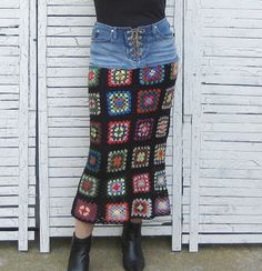 Granny Squares Jeans Skirt, OOAK, Upcycled Clothing, Upcycled Jeans, Wearable Art Skirt, Size XS, Size 5
