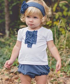Another great find on #zulily! White & Denim Ruffle Tee - Infant & Girls by RuffleButts #zulilyfinds
