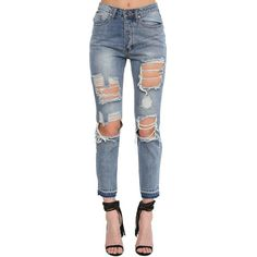 Tyler Ripped Jeans (€35) ❤ liked on Polyvore featuring jeans, blue, high waisted bootcut jeans, high rise jeans, distressed bootcut jeans, high rise bootcut jeans and destructed jeans