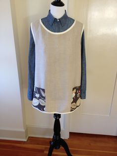Beautiful fabrics VirginiaWay!   CrossBack Smock Style Apron in Natural Linen. One by VirginiaWay