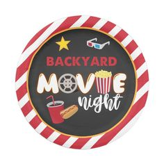 Movie Theatre Birthday Party, Backyard Movie Night Party, Outdoor Movie Nights, Backyard Parties, Movie Night For Kids, Engagement Party Decorations, Kid Movies, Party Tableware, Paper Plates