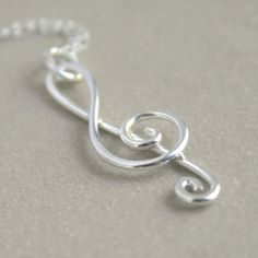 treble clef necklace. sterling silver. with birthstone. music jewelry. graduation gift.