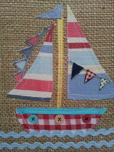 Little sail boat fabric picture by eyecandy vintage