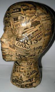 Mattie Reid Chicago: Newspaper Mannequin head & porcelain glove mold by Ira Mency Decopatch Ideas, Diy Mod Podge, Styrofoam Head, Chicago, Wig Stand, Doll Display, Mannequin Heads, Hat Stands, Mosaic Garden